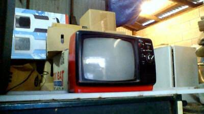 Vintage Retro Red All Transistor Portable Black and White TV