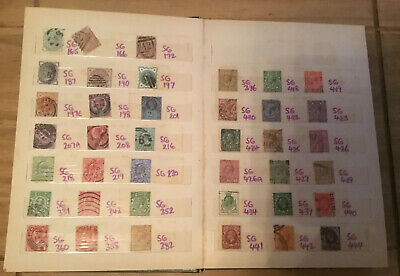 Queen Victoria - QE II 655 Used Stamp Collection in A5 Green Stock Book