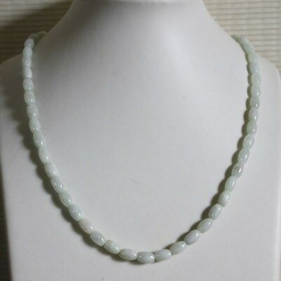 Gemstone Natural Jadeite JADE Type A Beautiful Icy White Beaded Necklace #N175