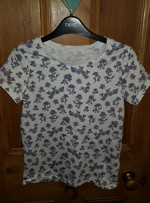 NEXT Girls Pretty White Blue Lilac Flower Summer t Shirt age 9