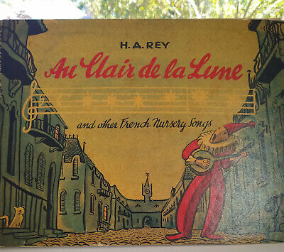 Antique music book- H.A. REY Au Clair De La lune