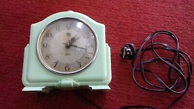 1950's GREEN BAKERLITE SMITH & ENFIELD ELECTRIC ALARM CLOCK.