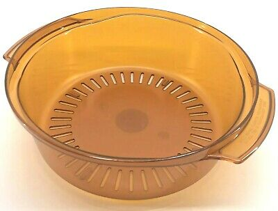 Tupperware Stack Cooker Tupperwave Microwave Colander Insert Amber Orange New