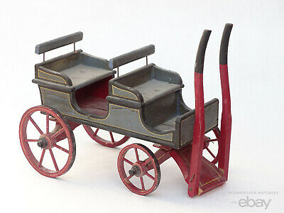 Antique Victorian Folk Art Primitive Painted Doll Pull Cart Dog Cart Child's Toy