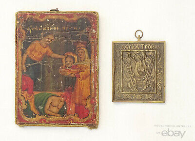19th C. Antique Russian Orthodox Painted Icon Brass Plaque Head of St. John