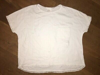 Zara Girls White Short Sleeved Cropped T Shirt 100% Cotton Age 13-14yrs