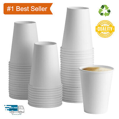 Recyclable Premium Disposable 12oz Single Wall White Paper Hot Tall Coffee Cups