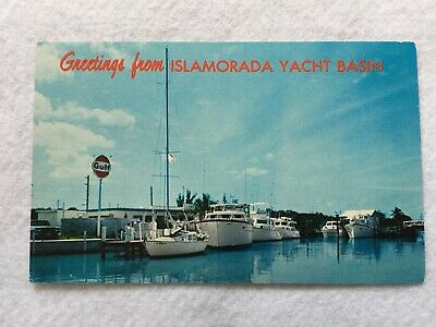 Greetings from Islamorada Yacht Basin in the Florida Keys  Vintage  Postcard