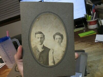 Vintage Old Cabinet Photo Picture Tiffin Ohio Wedding Marriage Bride Groom Oval