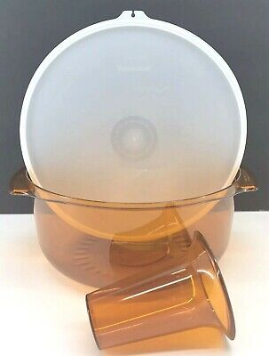 Tupperware Tupperwave Stack Cooker Microwave 3 Piece Casserole Set Amber New