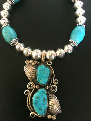 LG TURQUOISE NECKLACE Big Sterling Silver Pendant NAVAJO Native American Jewelry
