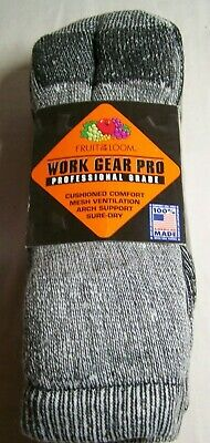 Fruit of the Loom WORK GEAR PRO SURE DRY SOCKS w Arch Support TWO Pair Size 6-12