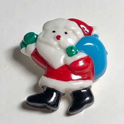 Santa Carrying His Sack of Toys Vintage Plastic Button