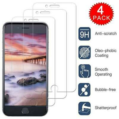 4PCS For iPhone 11 Pro X XR XS Max 8 7 6 Plus HD Tempered Glass Screen Protector