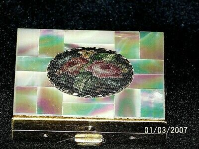 Vintage Schildkraut Gold Woman's Compact, Puff & Mirror, Mother Pearl