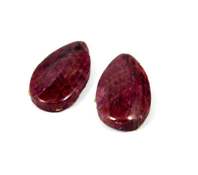 39 Cts. 100% Natural Pair Of Pear Ruby Loose Cabochon Gemstone RRM19147