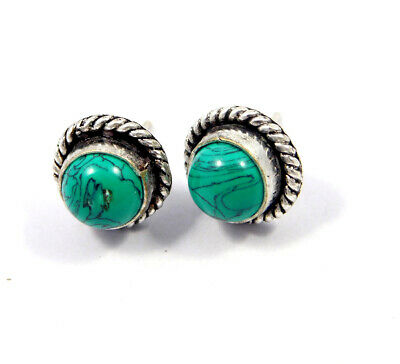 Turquoise .925 Silver Plated Handmade Stud Earring Jewelry JC8131