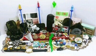 Vtg Junk Drawer Lot Militaria Jewelry Tools Marbles Compass Figures Tokens Toys