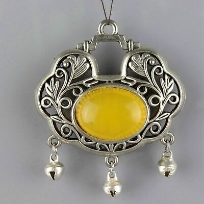 Collect Old Miao Silver Inlay Amber Hand-Carve Flower Delicate Hollow Out Pendnt