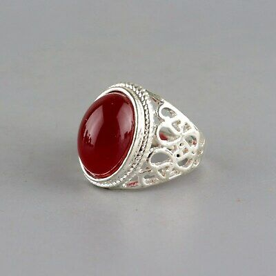 Collect China Miao Silver Inlay Agate Hand Carve Flower Delicate Girl Decor Ring