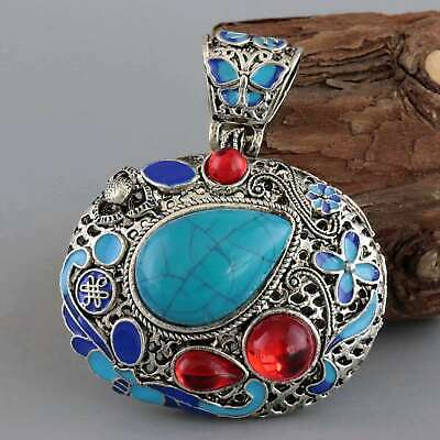 Collect Decor Miao Silver Cloisonne Inlay Turquoise Carve Delicate Noble Pendant