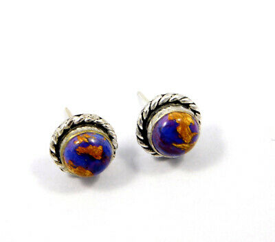 Purple Copper Turquoise .925 Silver Plated Handmade Stud Earring Jewelry JC8061