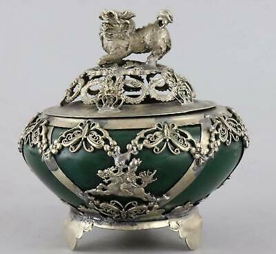 Collect Old Tibet Silver Hand-Carved Dragon & Kylin & Guan Yin Delicate Censer