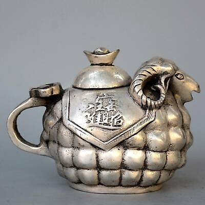 Collectable Old Miao Silver Hand-Carved Sheep Loaded Wealth Auspicious Tea Pot