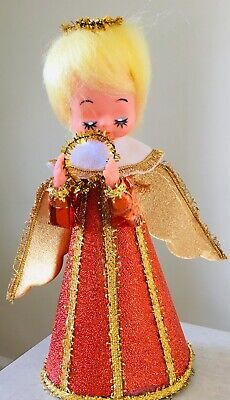 Vintage 1960s Tree Topper CHRISTMAS ANGEL Amber & Gold 21cm  Unused