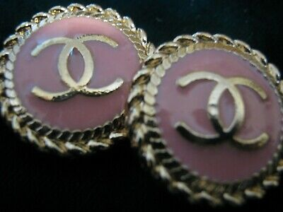 CHANEL 2 BUTTONS PINK GOLD   18 mm , 3/4 inch metal with  cc logo TWO PC.