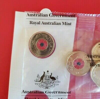 2018 Australian $2 Dollar Coin - Remembrance Armistice Day Red Poppy 1x coin