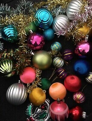 Vintage Lot CHRISTMAS TREE Baubles Satin Mixed Retro Ornaments Xmas 30 Plus
