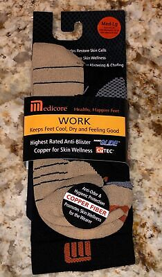 MEDICORE Black Work Anti Blister Crew Socks M/L Fits Mens 9-10.5 Womens 10-12