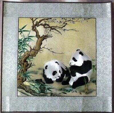 Silk embroidery picture showing 2 Pandas (New)