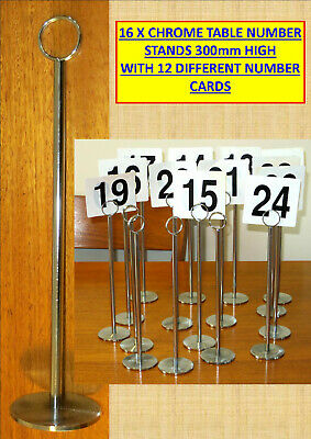 16 x CHROME TABLE NUMBER STANDS 300mm HIGH WITH 12 DIFFERENT NUMBER CARDS