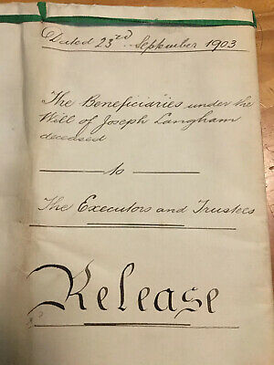 1903 Antique Legal Document Indenture Release Langham Queensland Australia U.K.