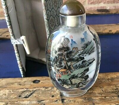 CHINESE reverse Painted VINTAGE GLASS Snuff Bottle Mountain Scenes Signed