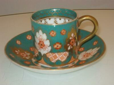 Stunning Antique Hand Painted Porcelain Cup & Saucer Duo