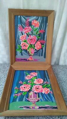 completed paint by numbers bright flowers set of 2