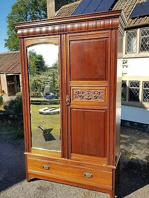 A Beautiful Edwardian Mahogany Double 2 Door Wardrobe with Mirror & Carving