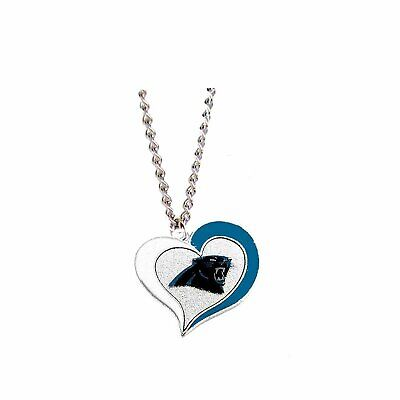 """Carolina Panthers Football Team NFL Heart Swirl Charm Silver 20"""" Necklace"""