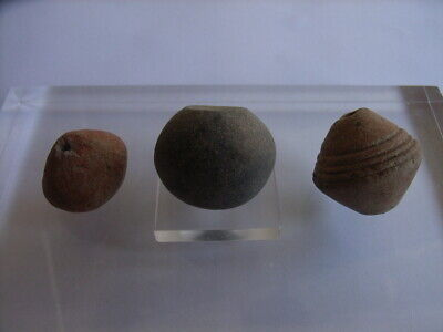 3 Ancient Celtic Clay Beads Celts VERY RARE!  TOP !!
