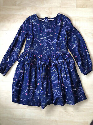 M&S Girls Blue Unicorn Dress 6-7 Years