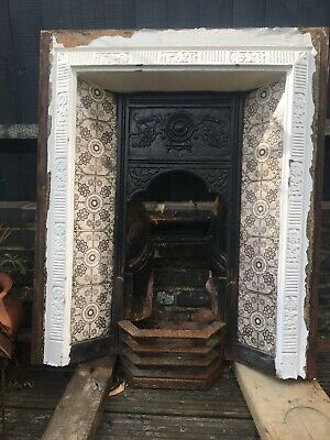 Original Victorian Cast Iron Fire Surround With Original Tiles