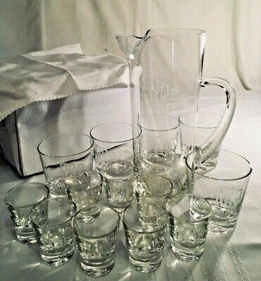 Barware Cocktail Glasses & Martini Pitcher Engraved REP Type Set 14p
