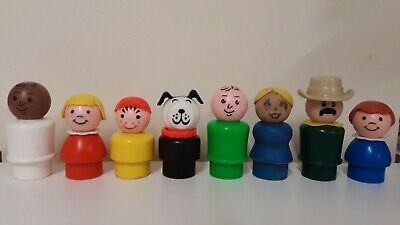 LOT OF  8 VINTAGE FISHER-PRICE LITTLE PEOPLE BLEMISHED or FADED~ALL DIFFERENT