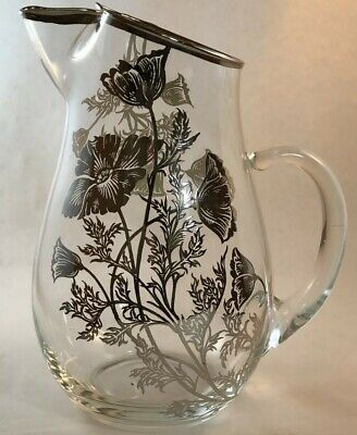 Silver City Pitcher Poppy Design Sterling Silver Overlay Flanders Glass Crystal