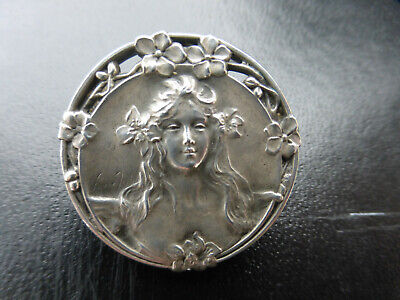 Antique Victorian art nouveau French silver Maiden Brooch by Pierre Feitu