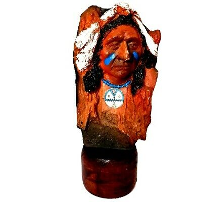 Hand Carved Stone Native American Indian Chief Figurine Statue Warrior Redskins