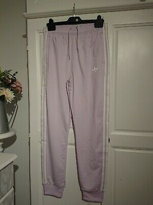 ADIDAS original junior girls SUPERSTAR track pants pink & white. BNWT age 13/14